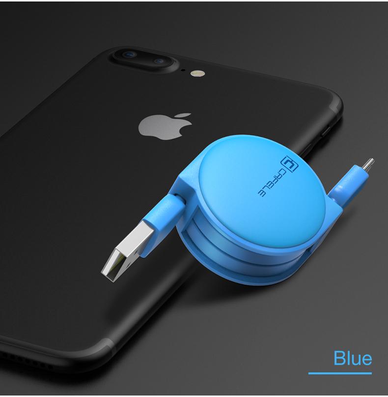 Samonavíjecí luxusní Micro USB kabel - světle modrá