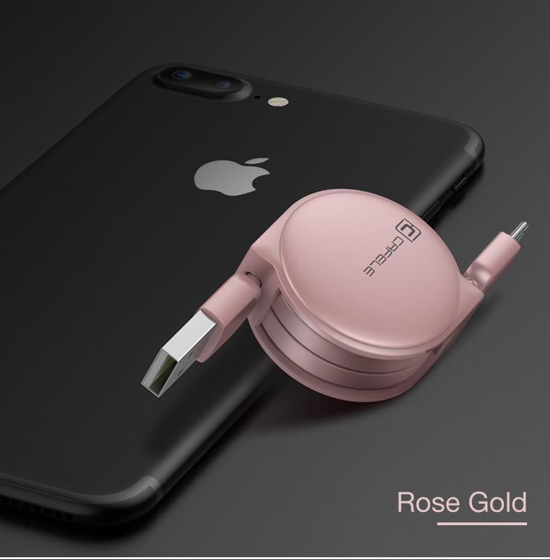Samonavíjecí luxusní Micro USB kabel - růžová