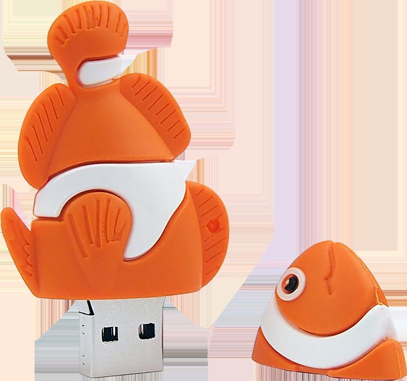 Flash disk - 32 GB - Rybička Klaun - oranžová - USB 2.0