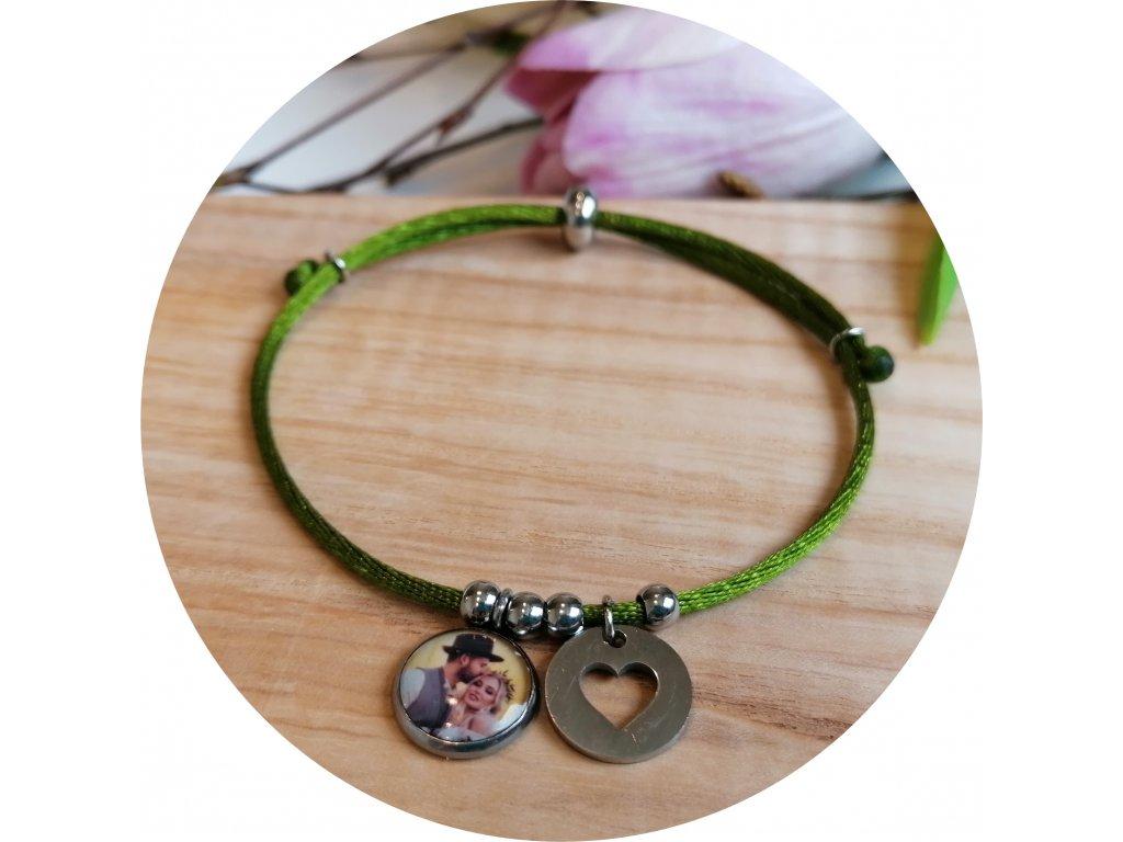 Saténový náramek s fotkou -  Olivová zelená