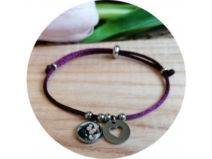 Saténový náramek s fotkou -  Vínová fialová