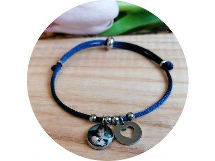 Saténový náramek s fotkou - Půlnoční modrá