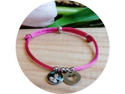 Saténový náramek s fotkou -  Fuchsiová růžová