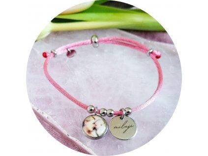 Saténový náramek s fotkou - Pudrová růžová