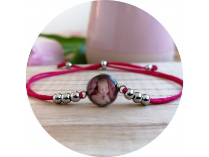 Nylonový náramek s fotkou - Fuchsiová růžová