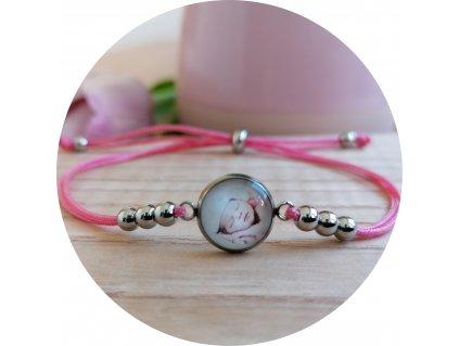 Nylonový náramek s fotkou - Světle růžová