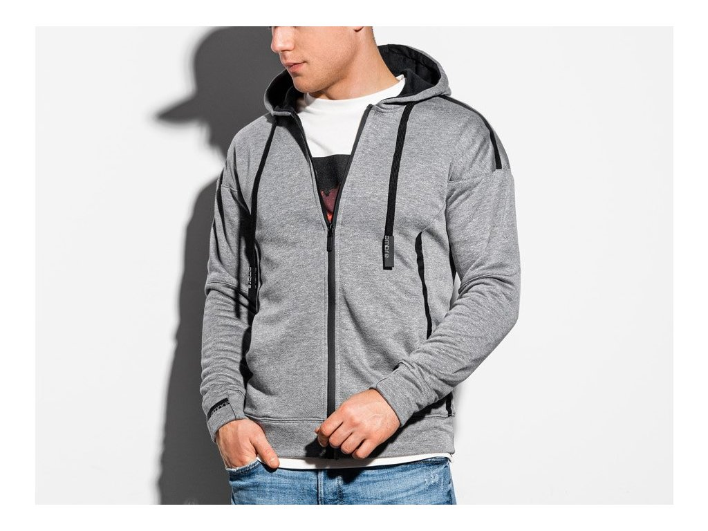 eng pl Mens zip up sweatshirt B1076 grey melange 16393 1