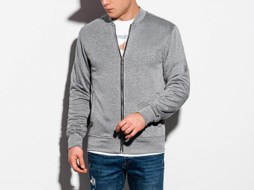 eng pl Mens zip up sweatshirt B1077 grey melange 16403 4