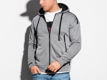 eng pl Mens zip up sweatshirt B1076 grey melange 16393 1