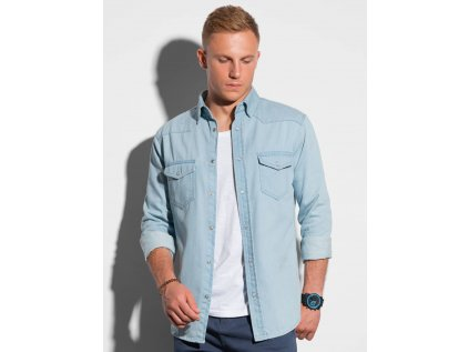 eng pl Mens shirt with long sleeves K567 light blue 20595 1