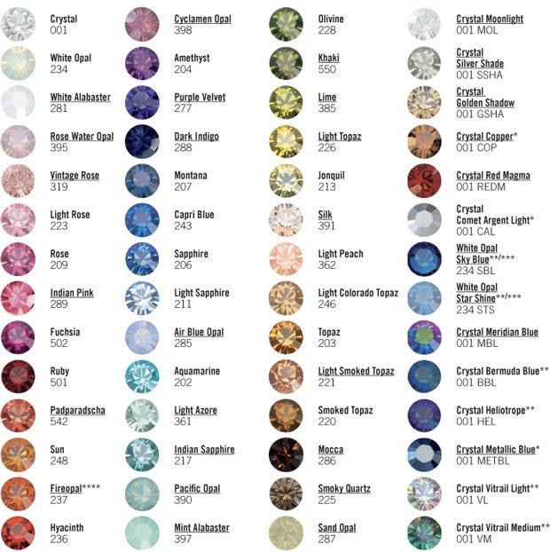 Vzorník barev krystalů Swarovski a perel