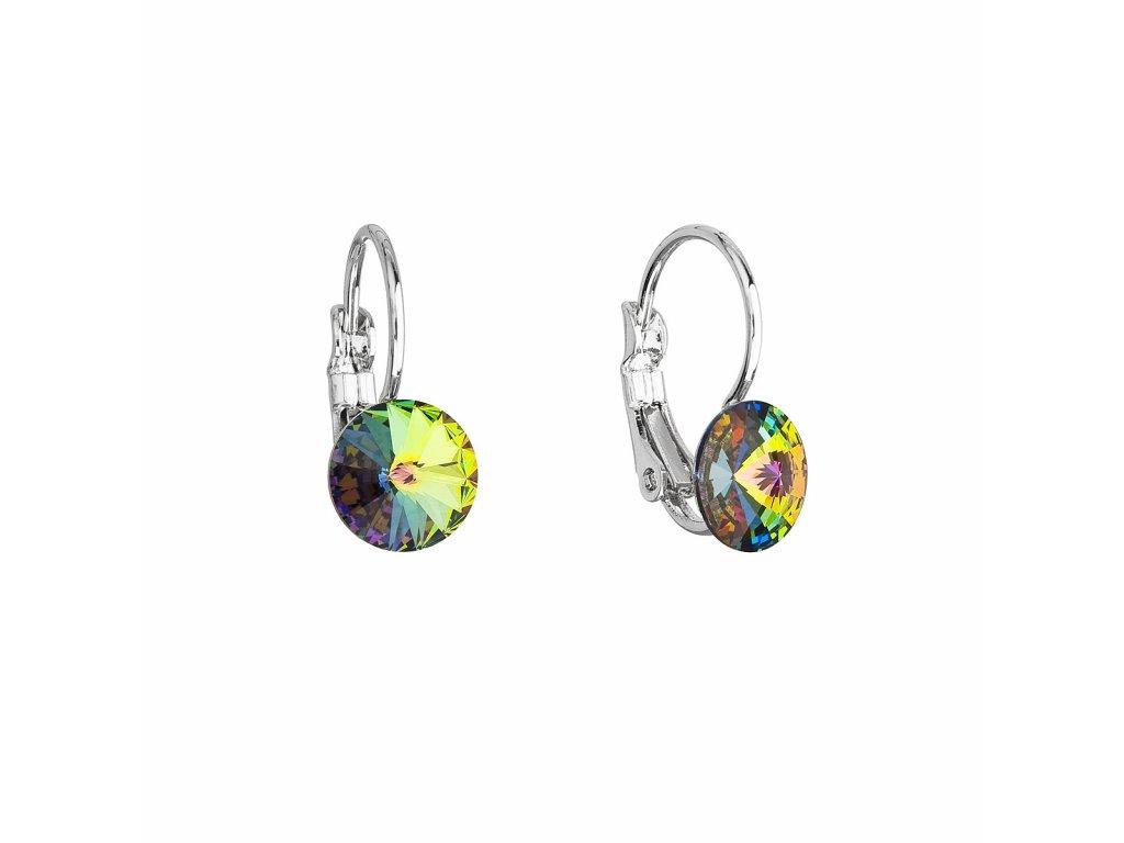 Náušnice bižuterie se Swarovski krystaly zelené kulaté 51031.5