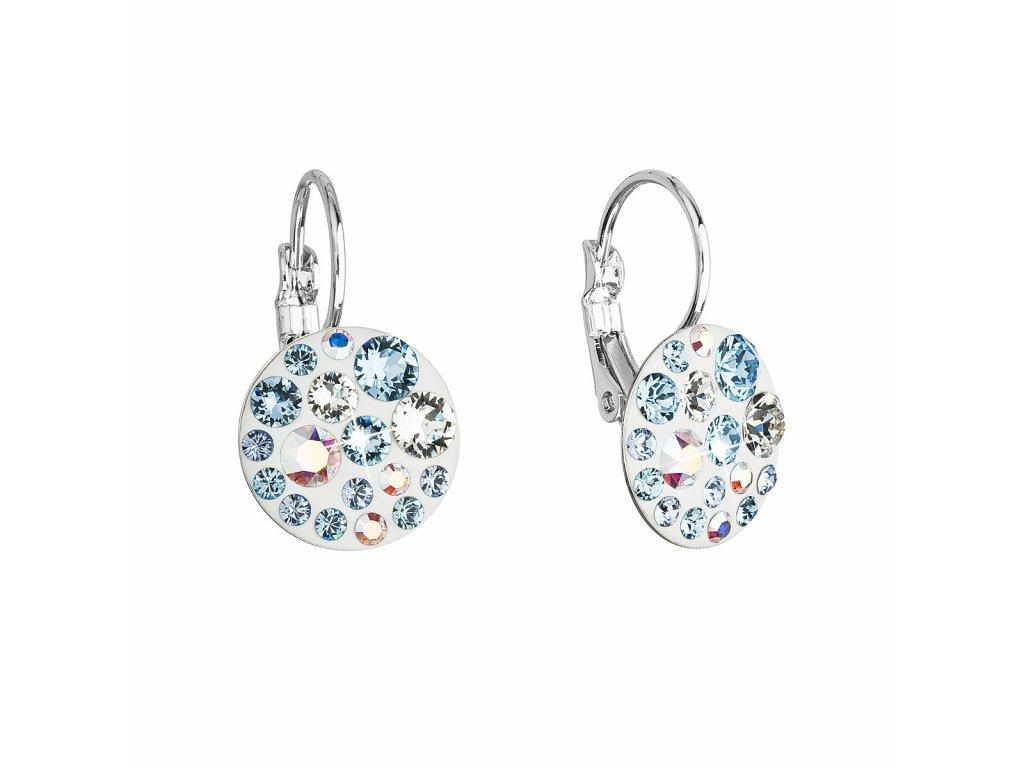 Náušnice bižuterie se Swarovski krystaly modré kulaté 51035.3