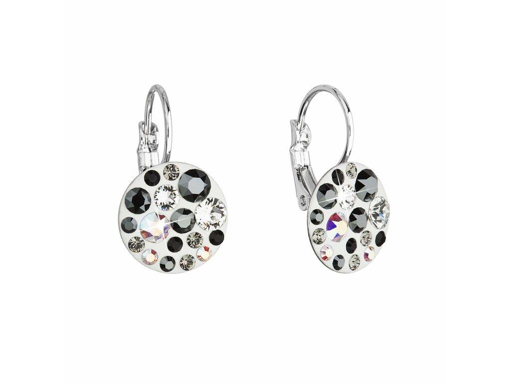 Náušnice bižuterie se Swarovski krystaly šedé kulaté 51035.3