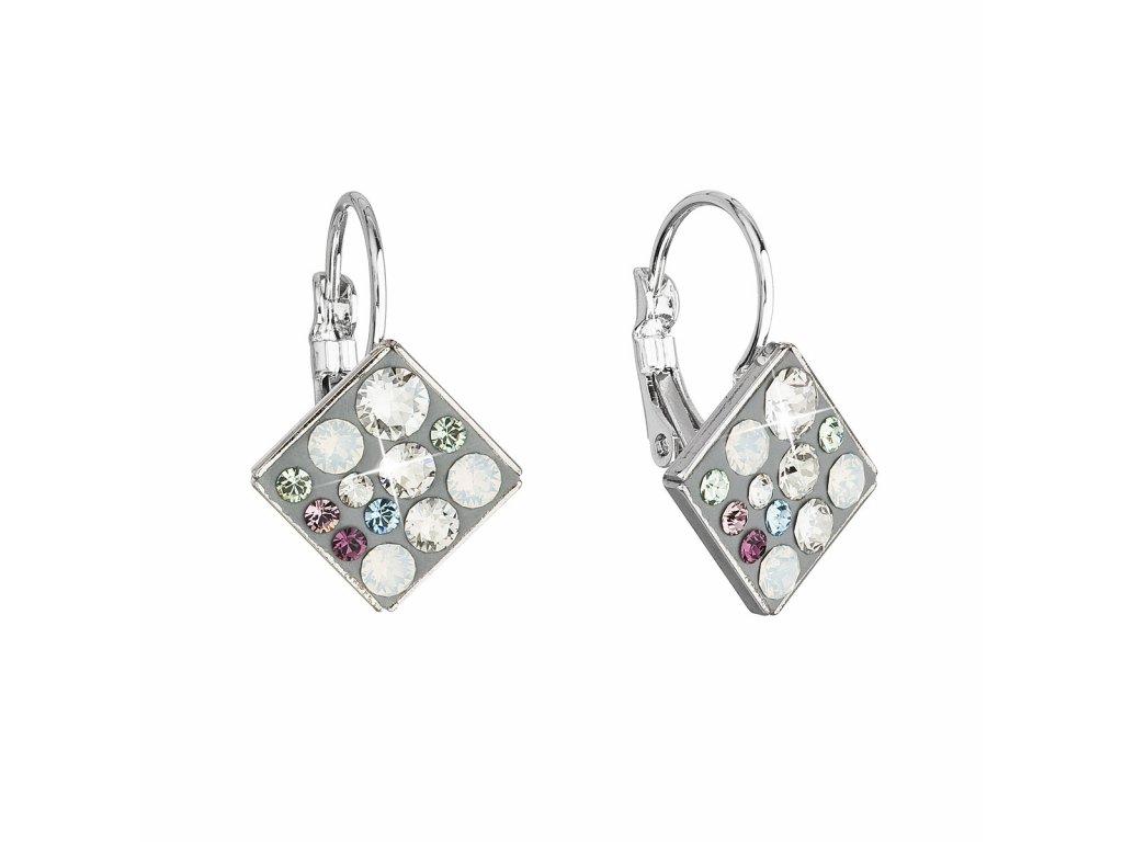 Náušnice bižuterie se Swarovski krystaly mix barev bílá zelená fialová kosočtverec 51036.3