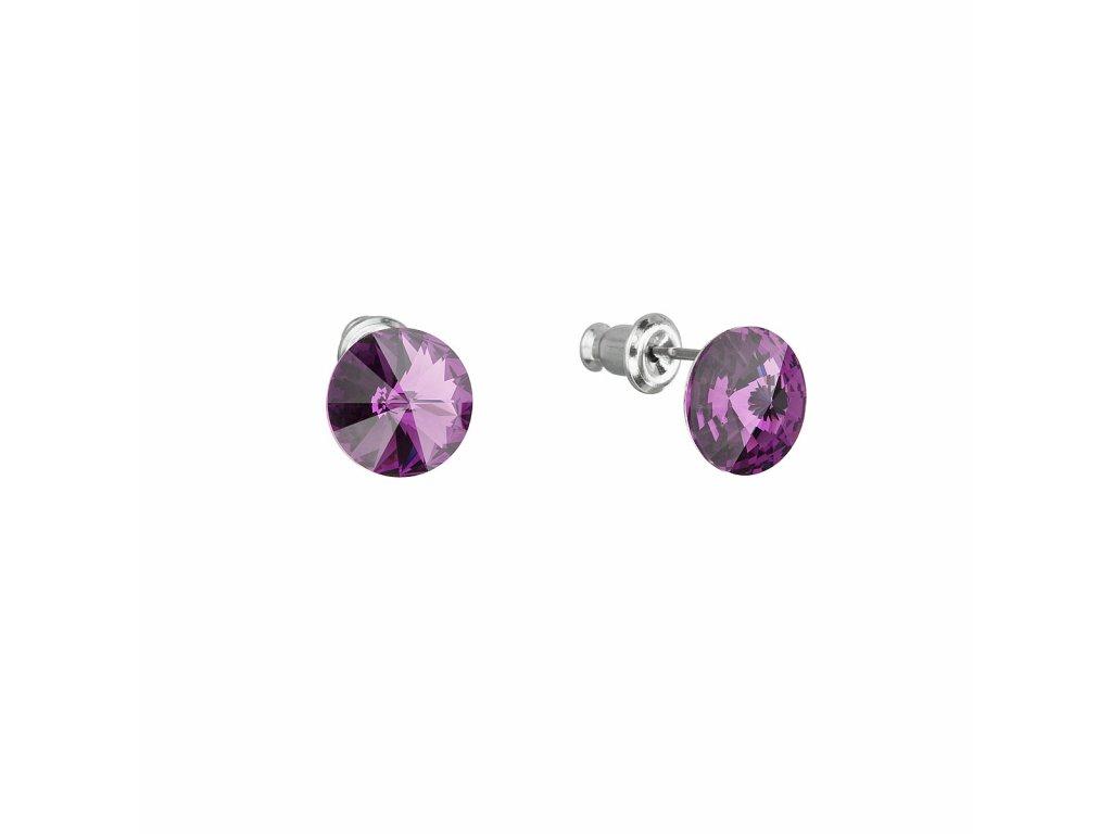 Náušnice bižuterie se Swarovski krystaly fialové kulaté 51037.3 amethyst