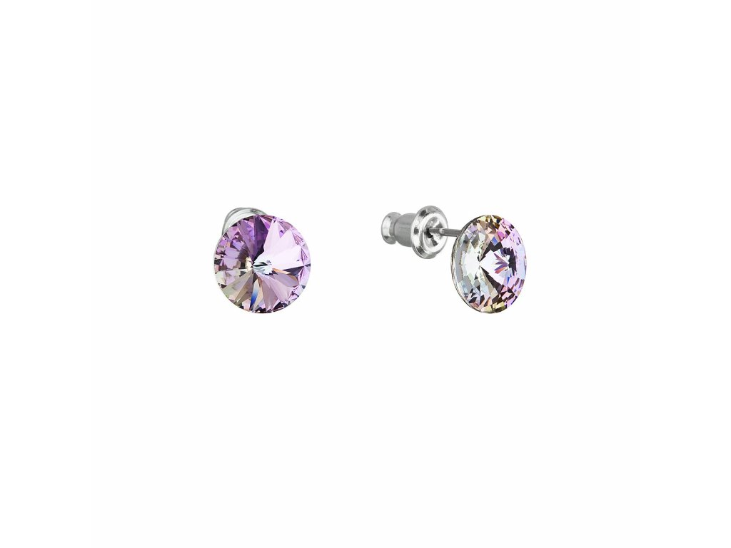 Náušnice bižuterie se Swarovski krystaly fialové kulaté 51037.5