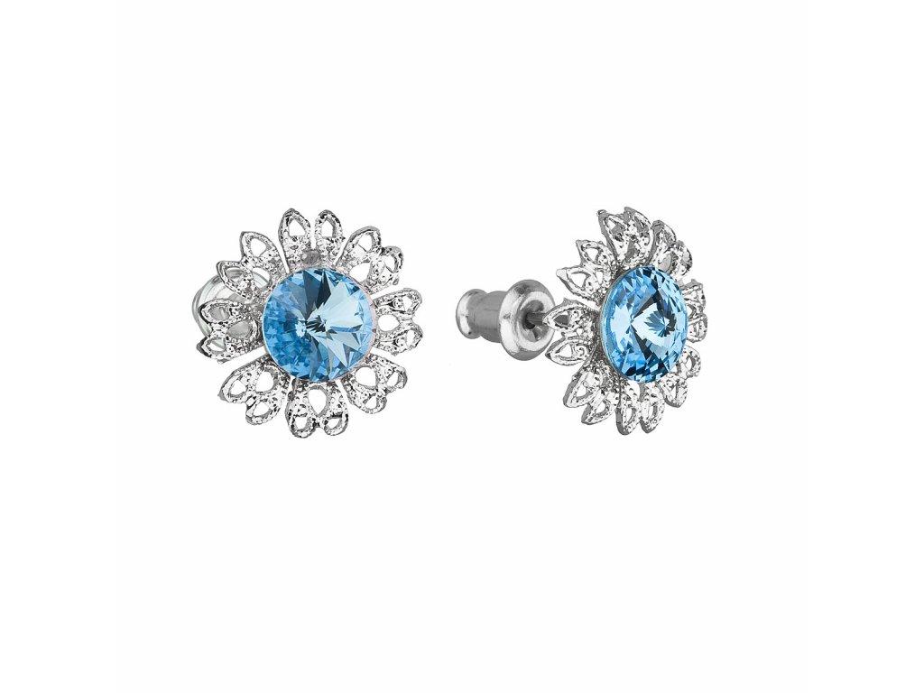 Náušnice bižuterie se Swarovski krystaly modrá kytička 51042.3 aqua