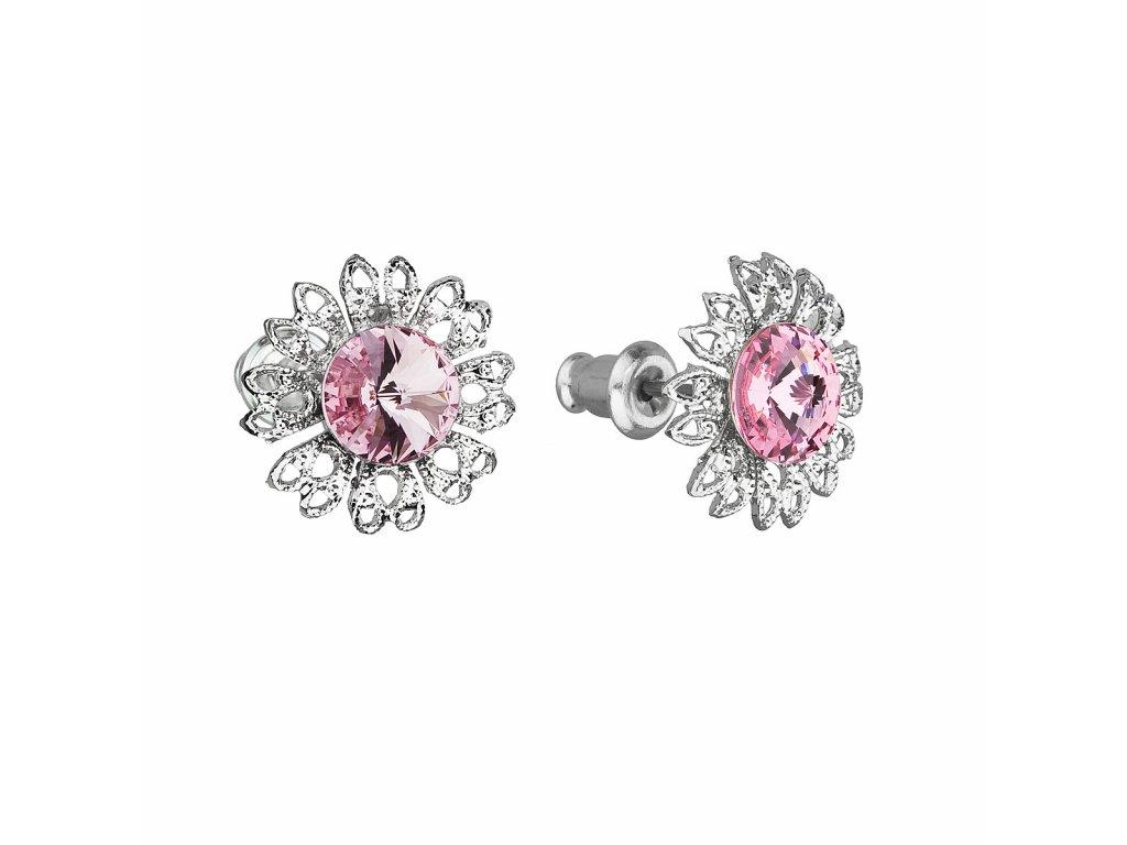 Náušnice bižuterie se Swarovski krystaly růžová kytička 51042.3 light rose