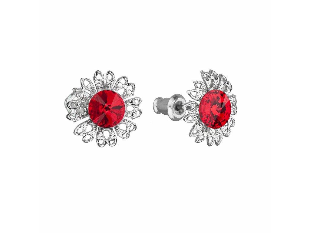 Náušnice bižuterie se Swarovski krystaly červená kytička 51042.3 light siam