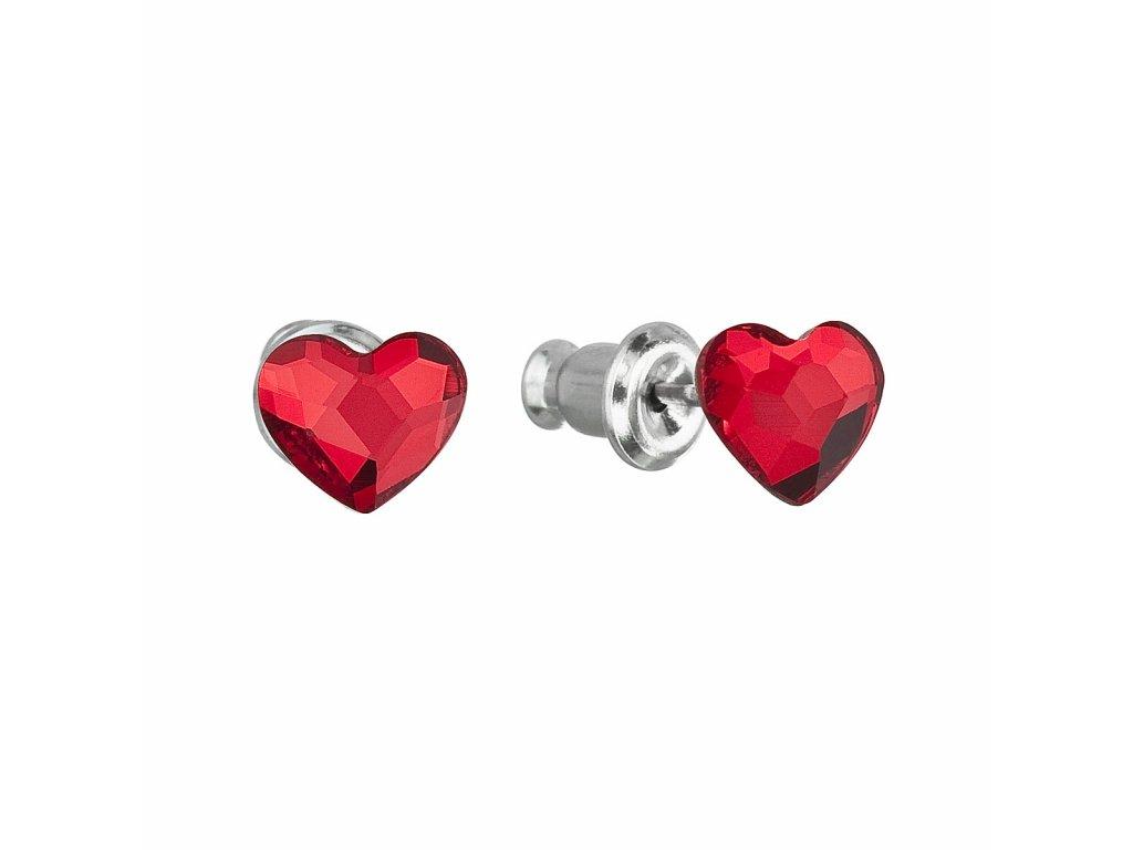 Náušnice bižuterie se Swarovski krystaly červená srdce 51050.3