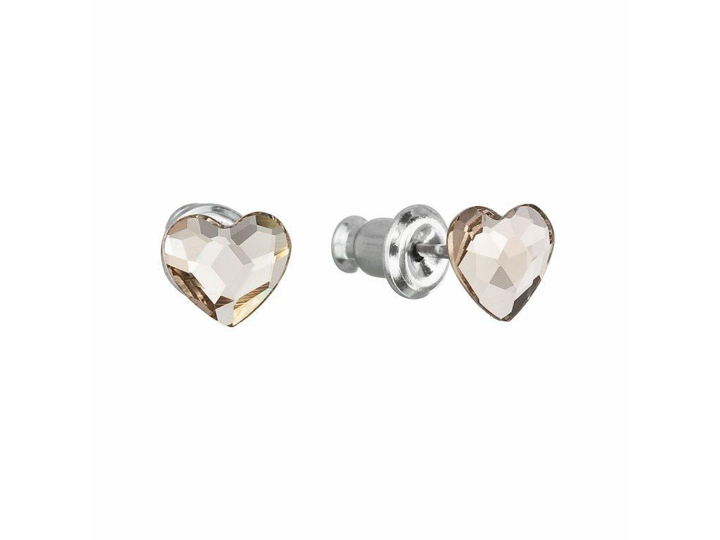 Náušnice bižuterie se Swarovski krystaly hnědá srdce 51050.3