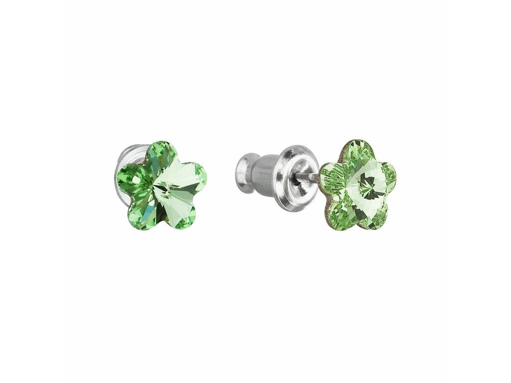 Náušnice bižuterie se Swarovski krystaly zelená kytička 51051.3