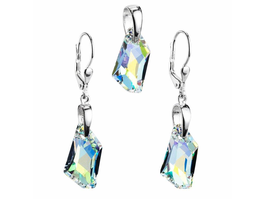 Sada šperků s krystaly Swarovski náušnice a přívěsek AB efekt bílý krystal 39039.2