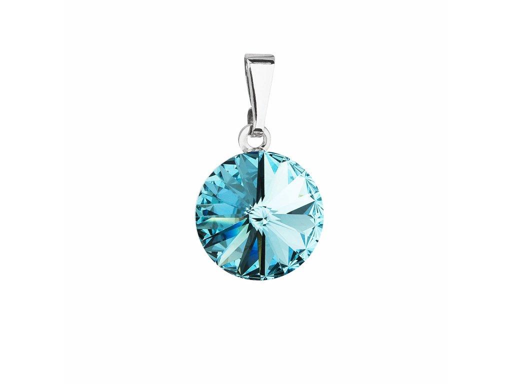 Přívěsek bižuterie se Swarovski krystaly modrý kulatý 54001.3 light turquoise