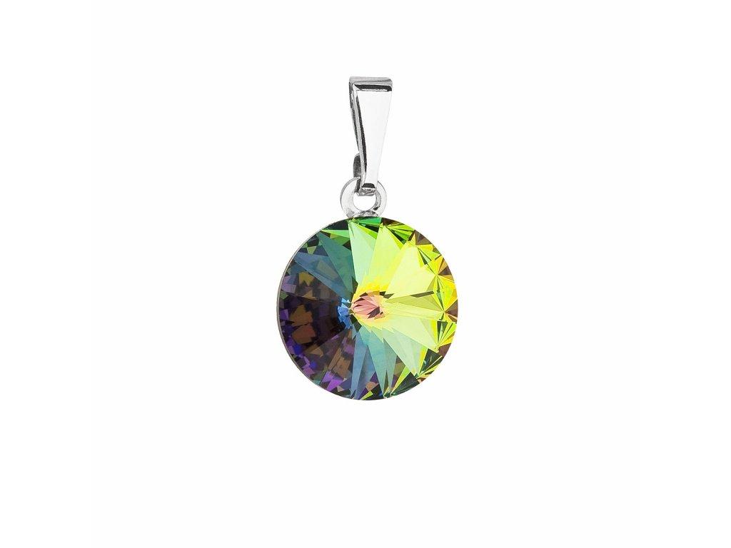Přívěsek bižuterie se Swarovski krystaly zelený kulatý 54001.5