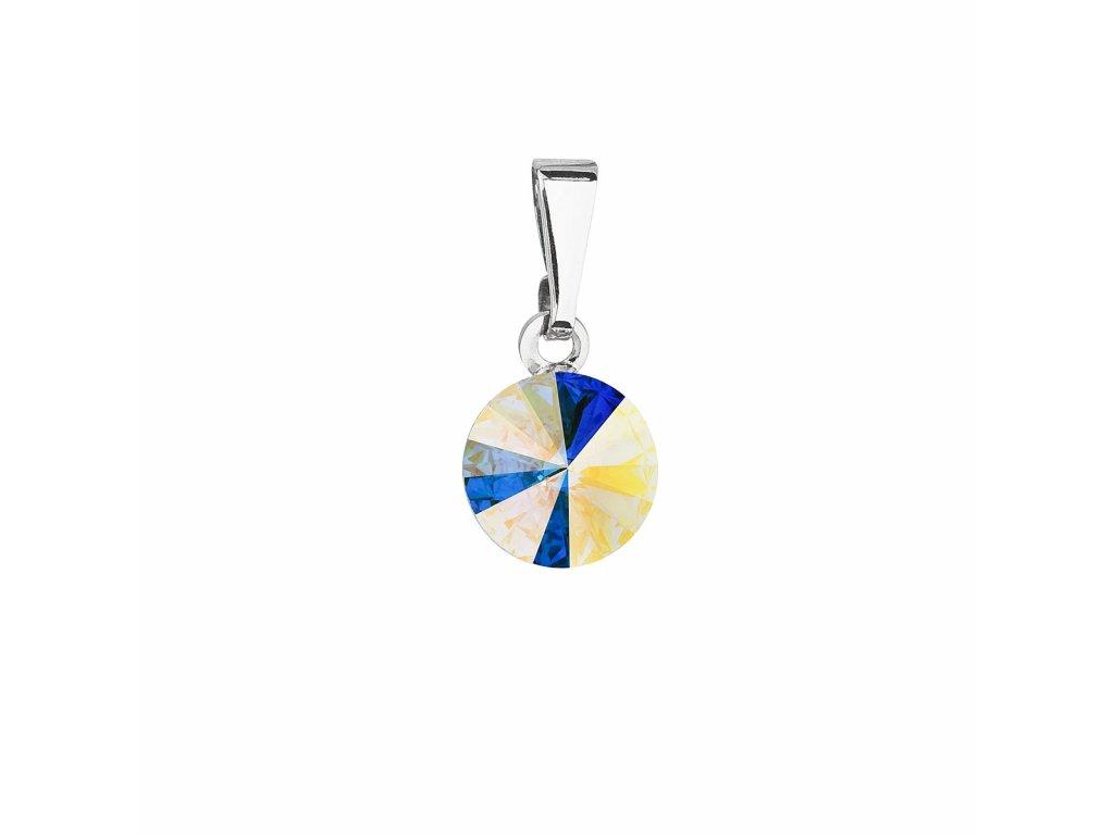 Přívěsek bižuterie se Swarovski krystaly AB efekt kulatý 54018.2