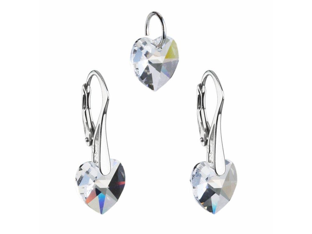 Sada šperků s krystaly Swarovski náušnice a přívěsek bílá srdce 39003.1