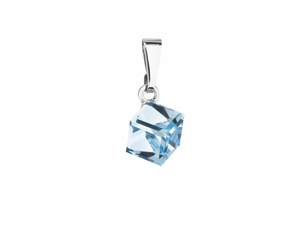 Přívěsek bižuterie se Swarovski krystaly modrá kostička 54019.3