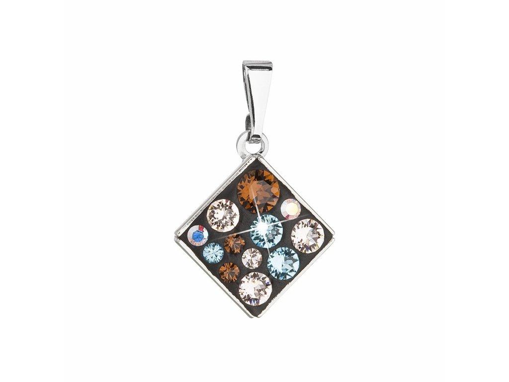 Přívěsek bižuterie se Swarovski krystaly modrý kosočtverec 54020.3 aqua