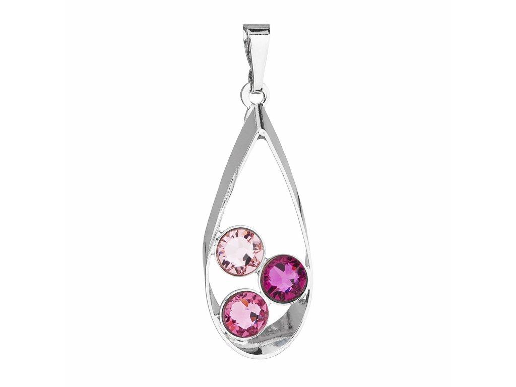 Přívěsek bižuterie se Swarovski krystaly růžová slza 54031.3