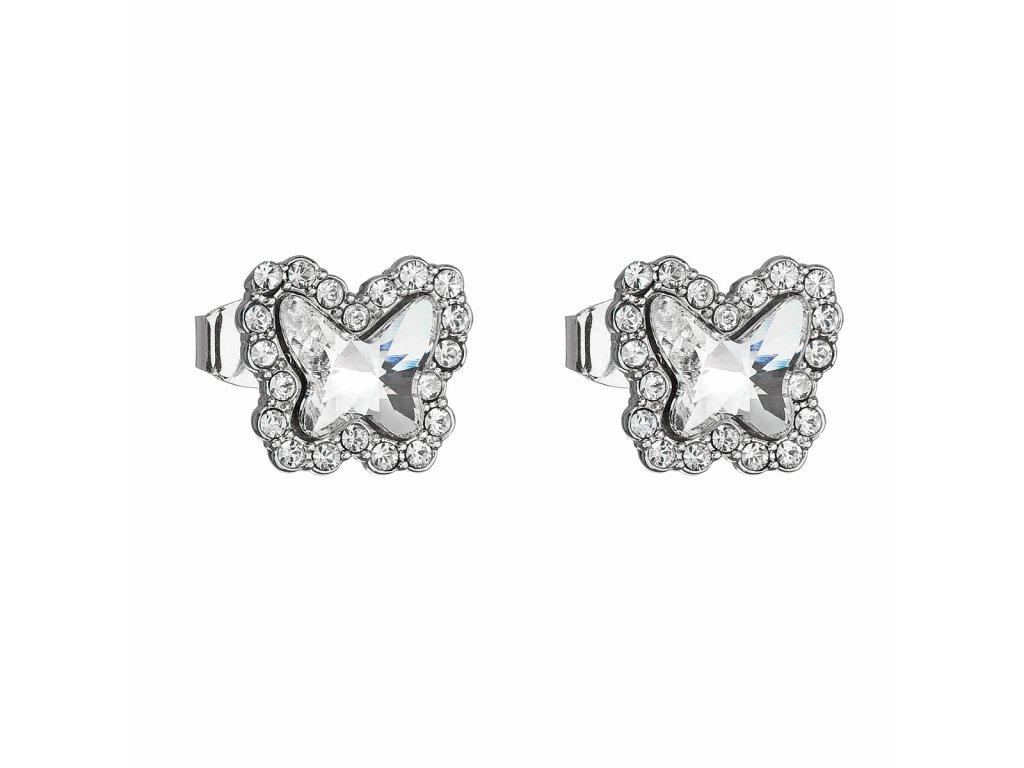 Náušnice bižuterie se Swarovski krystaly bílý motýl 51061.1