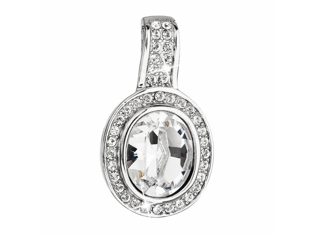 Stříbrný přívěsek s krystaly Swarovski bílý kulatý 34197.1