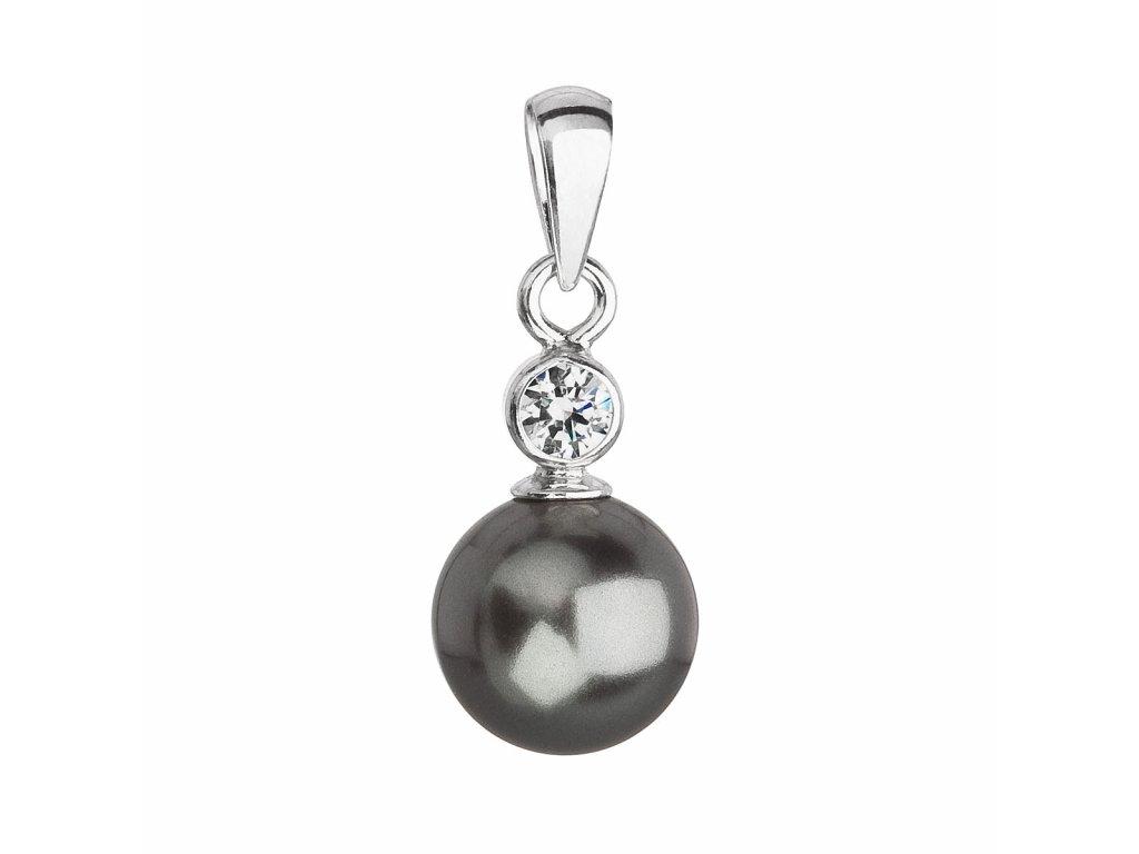 Stříbrný přívěsek s krystalem Swarovski a šedou kulatou perlou 34201.3