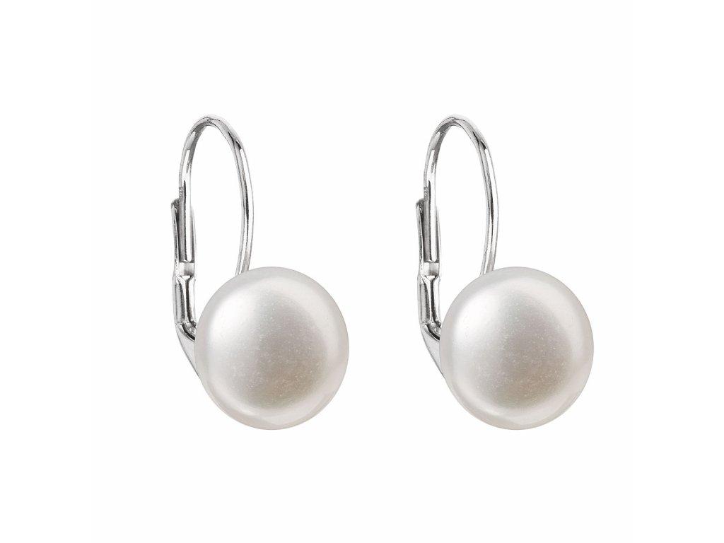 Stříbrné náušnice visací s bílou říční perlou 21010.1