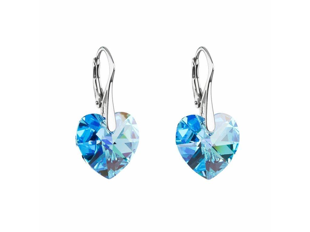 Stříbrné náušnice visací s krystaly Swarovski modré srdce 31012.4