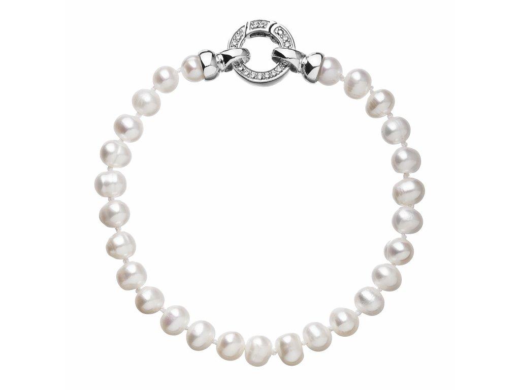 Perlový náramek z pravých říčních perel bílý 23001.1