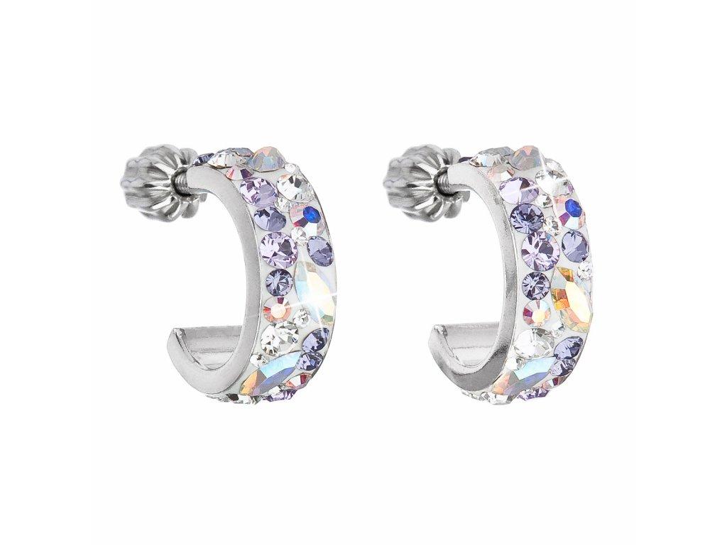 Stříbrné náušnice kruhy s krystaly Swarovski fialový půlkruh 31118.3 Violet