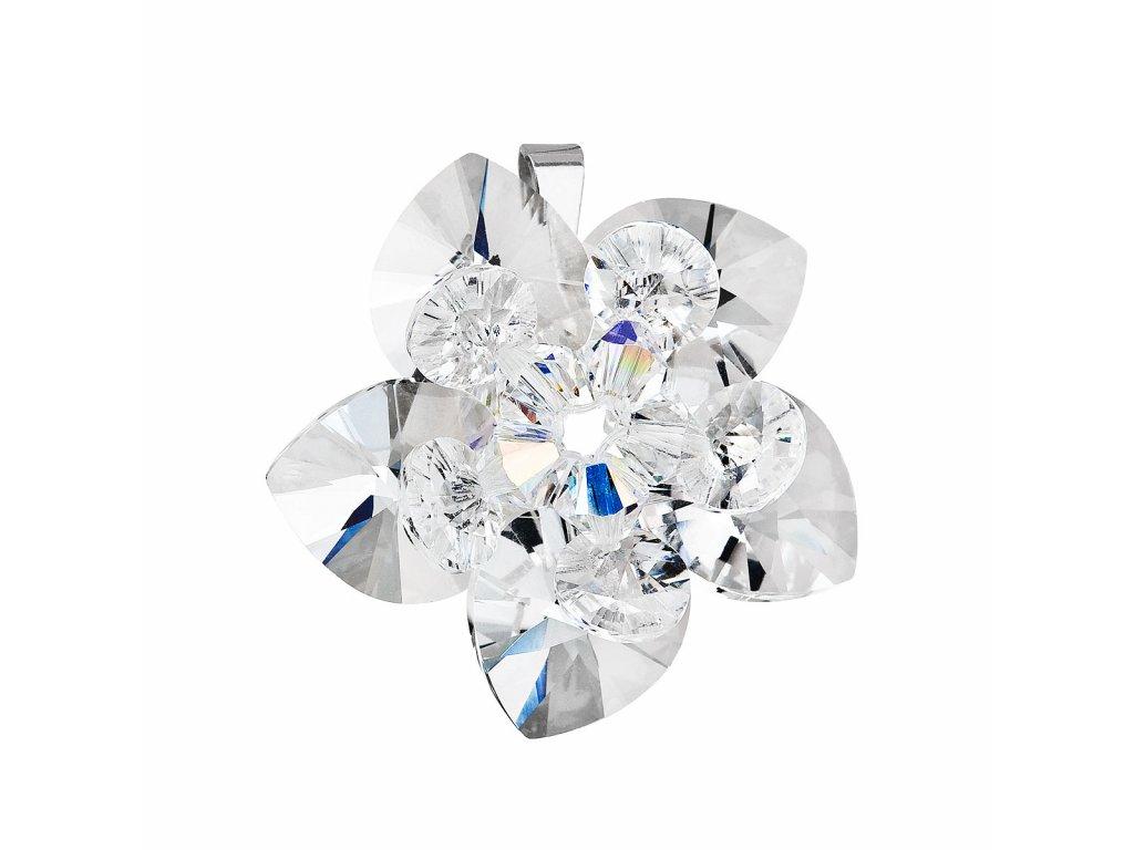Stříbrný přívěsek s krystalem Swarovskibílá květina 34072.1