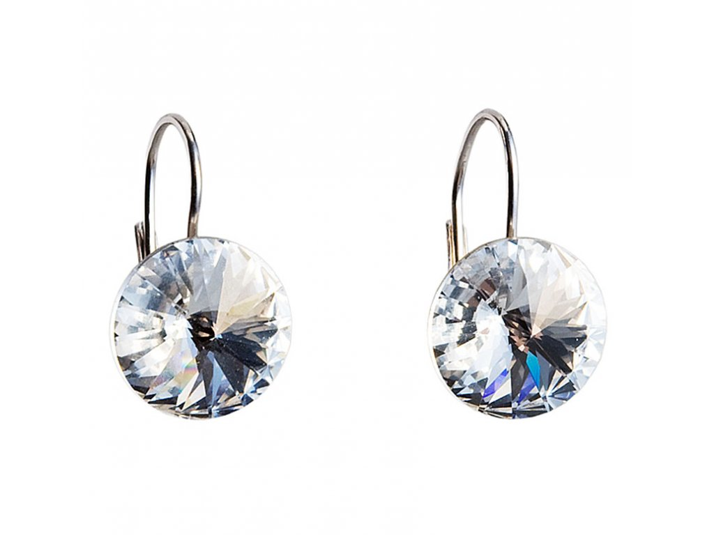 Náušnice bižuterie s Preciosa krystaly 14 mm bílé kulaté 51070.1
