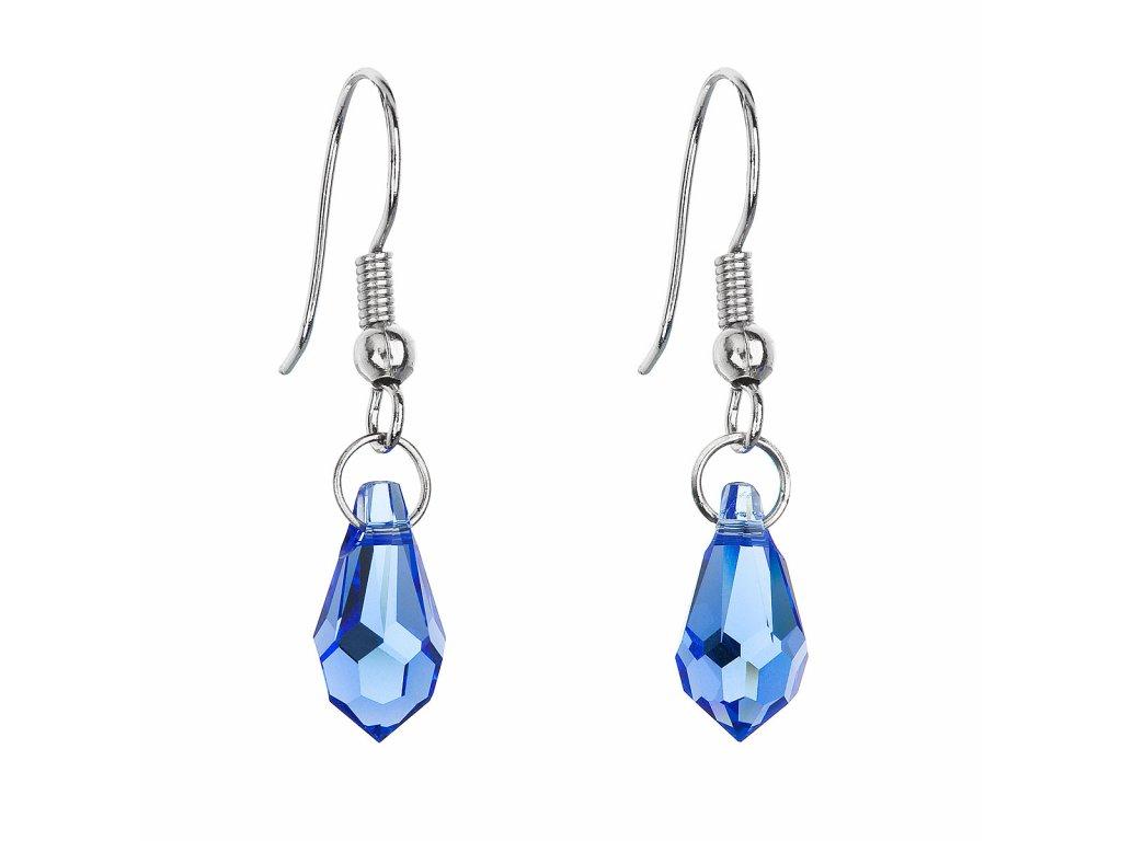 Náušnice bižuterie se Swarovski krystaly modrá slza 56005.3 sapphire