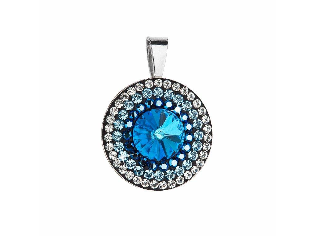 Stříbrný přívěsek s krystaly Swarovski modré kulatý-rivoli 34207.5