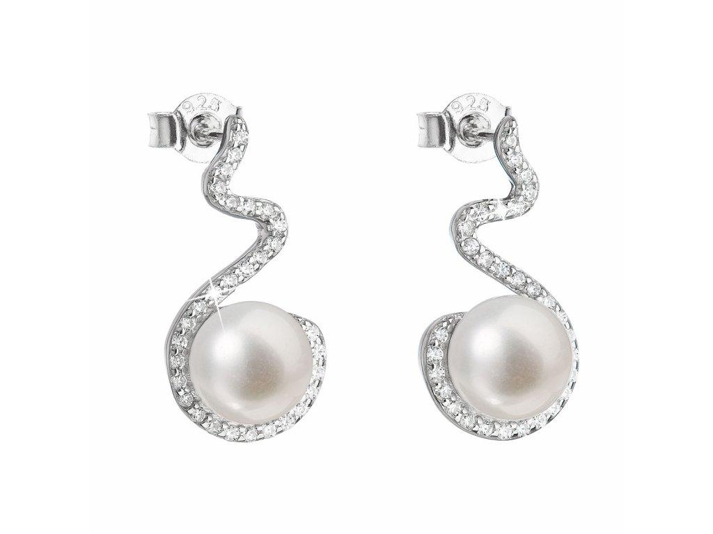 Stříbrné náušnice visací s bílou říční perlou 21037.1
