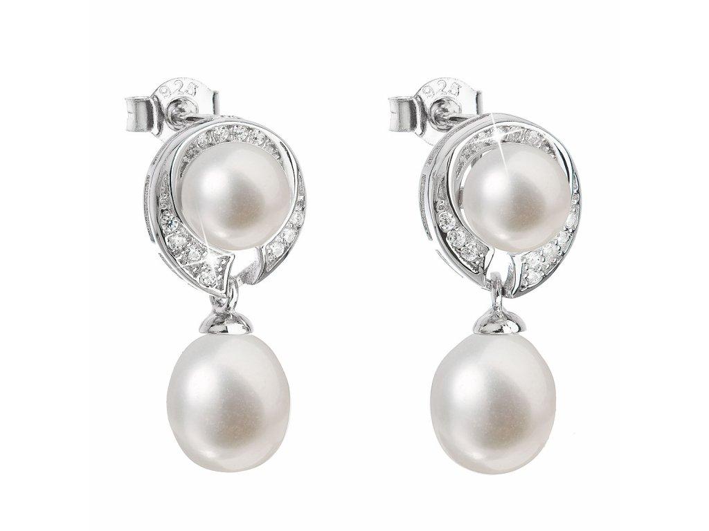Stříbrné náušnice visací s bílou říční perlou 21039.1