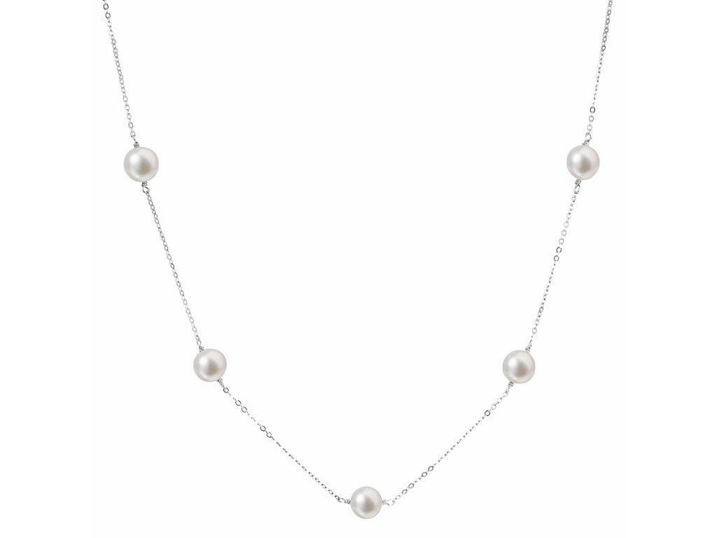 Perlový náhrdelník z pravých říčních perel bílý 22015.1