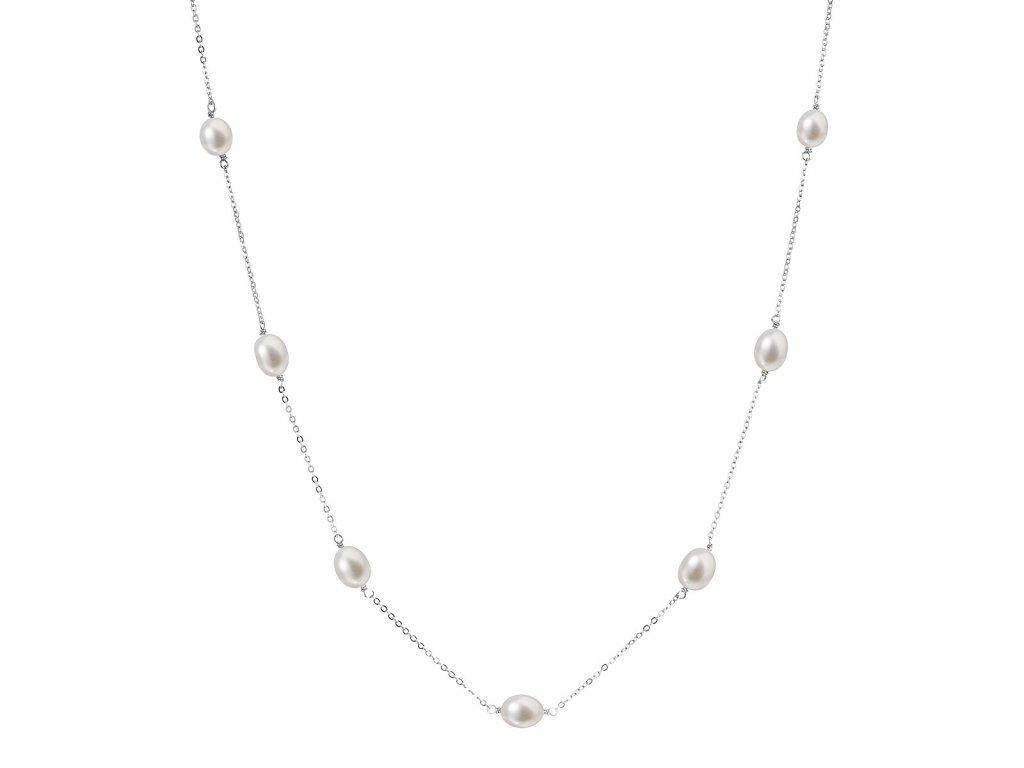 Perlový náhrdelník z pravých říčních perel bílý 22016.1